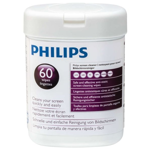 PHILIPS SVC1118P Screen Cleaner Wipes, 60ct, for LCD/ LED